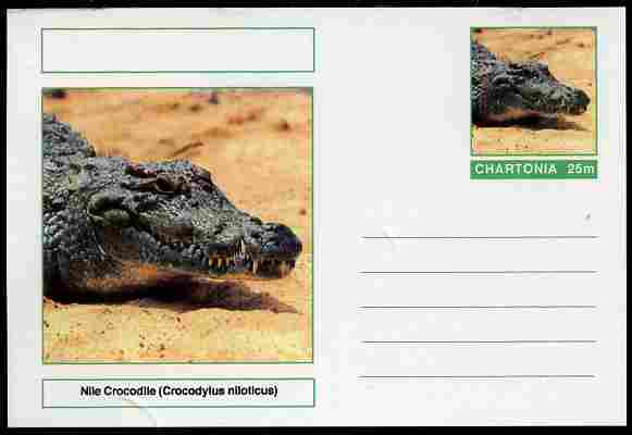 Chartonia (Fantasy) Reptiles - Nile Crocodile (Crocodylus niloticus) postal stationery card unused and fine