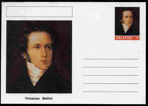 Palatine (Fantasy) Personalities - Vincenzo Bellini (composer) postal stationery card unused and fine