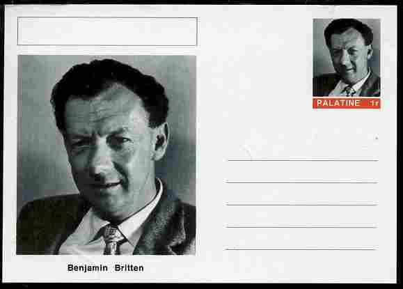 Palatine (Fantasy) Personalities - Benjamin Britten (composer) postal stationery card unused and fine