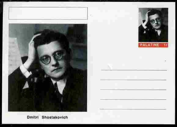 Palatine (Fantasy) Personalities - Dmitri Shostakovich (composer) postal stationery card unused and fine