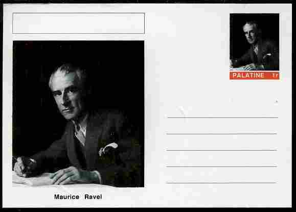 Palatine (Fantasy) Personalities - Maurice Ravel (composer) postal stationery card unused and fine