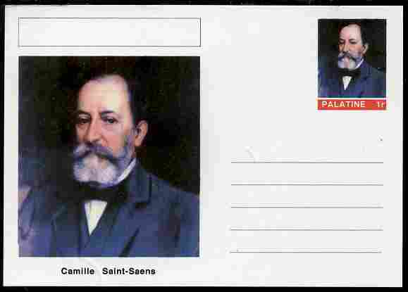 Palatine (Fantasy) Personalities - Camille Saint-Saens (composer) postal stationery card unused and fine