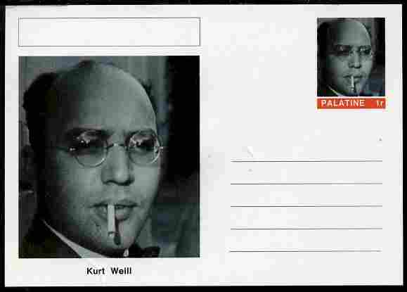 Palatine (Fantasy) Personalities - Kurt Weill (composer) postal stationery card unused and fine
