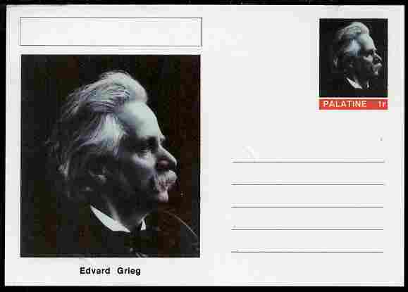 Palatine (Fantasy) Personalities - Edvard Grieg (composer) postal stationery card unused and fine