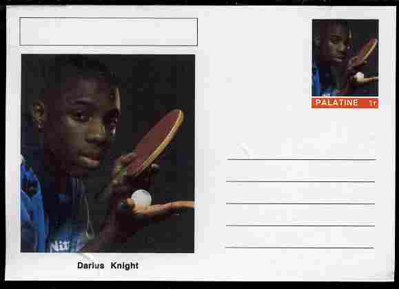 Palatine (Fantasy) Personalities - Darius Knight (table tennis) postal stationery card unused and fine