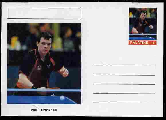 Palatine (Fantasy) Personalities - Paul Drinkhall (table tennis) postal stationery card unused and fine