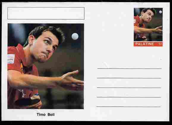 Palatine (Fantasy) Personalities - Timo Boll (table tennis) postal stationery card unused and fine