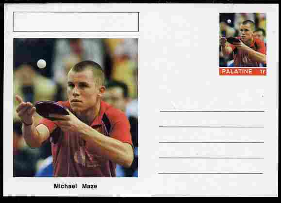 Palatine (Fantasy) Personalities - Michael Maze (table tennis) postal stationery card unused and fine