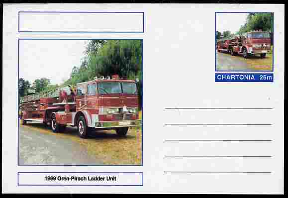 Chartonia (Fantasy) Fire Engines - 1969 Oren-Pirsch ladder Unit postal stationery card unused and fine