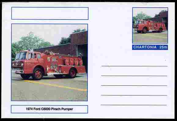 Chartonia (Fantasy) Fire Engines - 1974 Firs C8000 Pirsch Pumper postal stationery card unused and fine