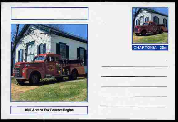 Chartonia (Fantasy) Fire Engines - 1947 Ahrens Fox Reserve Engine postal stationery card unused and fine
