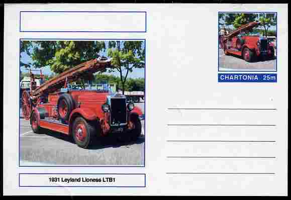 Chartonia (Fantasy) Fire Engines - 1931 Leyland Lioness LTB1 postal stationery card unused and fine