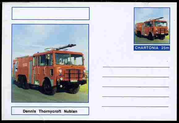 Chartonia (Fantasy) Fire Engines - Dennis Thornycroft Nubian postal stationery card unused and fine, stamps on transport, stamps on fire