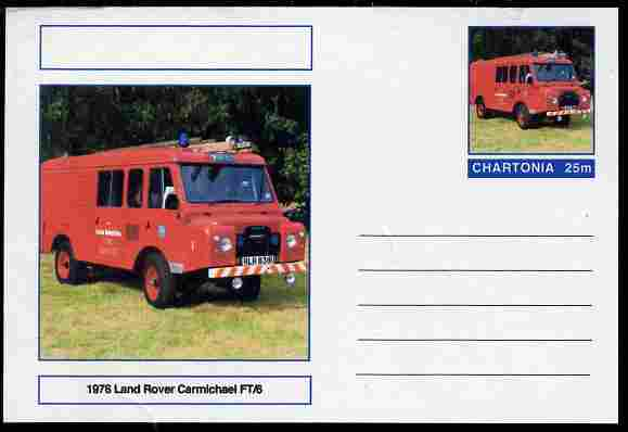 Chartonia (Fantasy) Fire Engines - 1976 Land Rover Carmichael FT/6 postal stationery card unused and fine