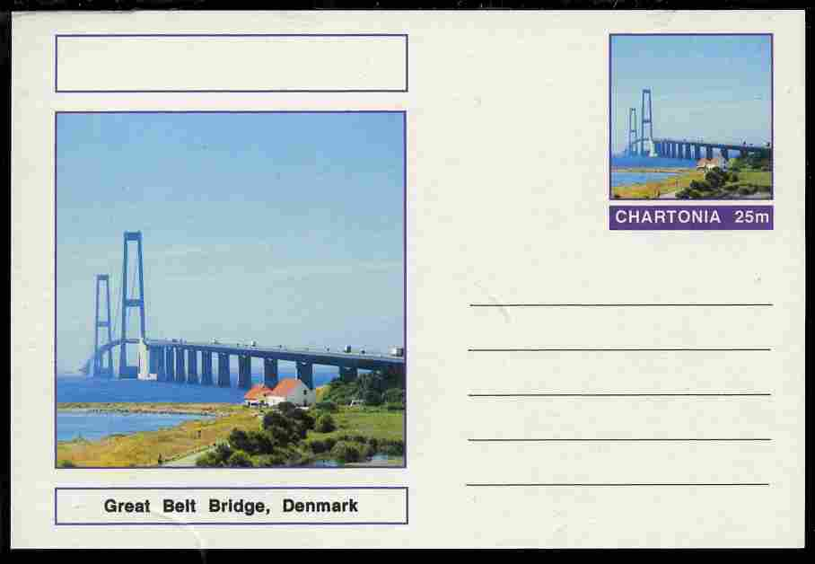 Chartonia (Fantasy) Bridges - Great Belt Bridge, Denmark postal stationery card unused and fine