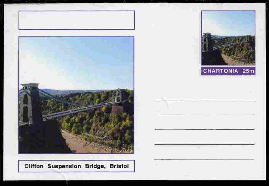 Chartonia (Fantasy) Bridges - Clifton Suspension Bridge, Bristol postal stationery card unused and fine