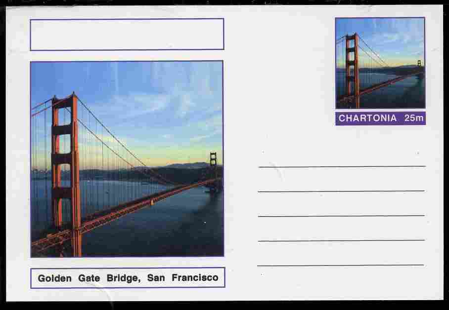 Chartonia (Fantasy) Bridges - Golden Gate Bridge, San Francisco postal stationery card unused and fine
