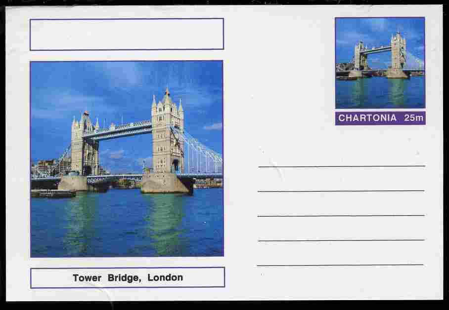 Chartonia (Fantasy) Bridges - Tower Bridge, London postal stationery card unused and fine