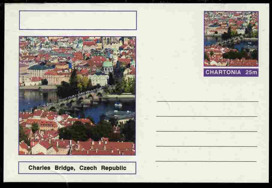 Chartonia (Fantasy) Bridges - Charles Bridge, Czech Republic postal stationery card unused and fine