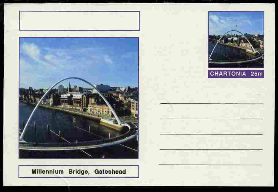 Chartonia (Fantasy) Bridges - Millennium Bridge, Gateshead postal stationery card unused and fine