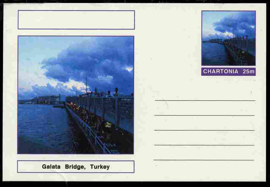 Chartonia (Fantasy) Bridges - Galata Bridge, Turkey postal stationery card unused and fine
