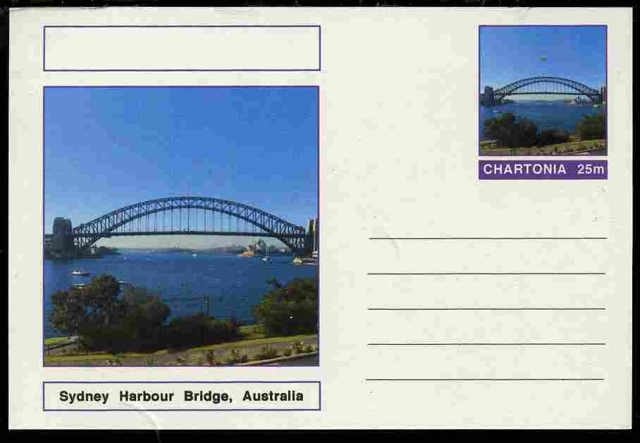 Chartonia (Fantasy) Bridges - Sydney Harbour Bridge, Australia postal stationery card unused and fine, stamps on bridges, stamps on civil engineering