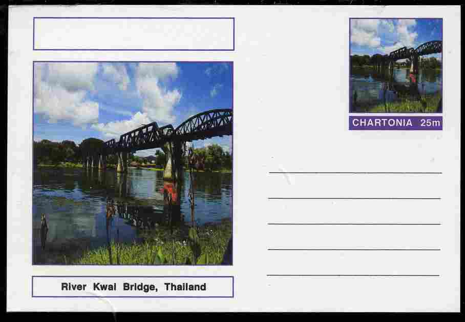 Chartonia (Fantasy) Bridges - River Kwai Bridge, Thailand postal stationery card unused and fine