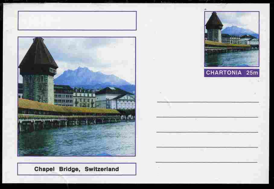 Chartonia (Fantasy) Bridges - Chapel Bridge, Switzerland postal stationery card unused and fine