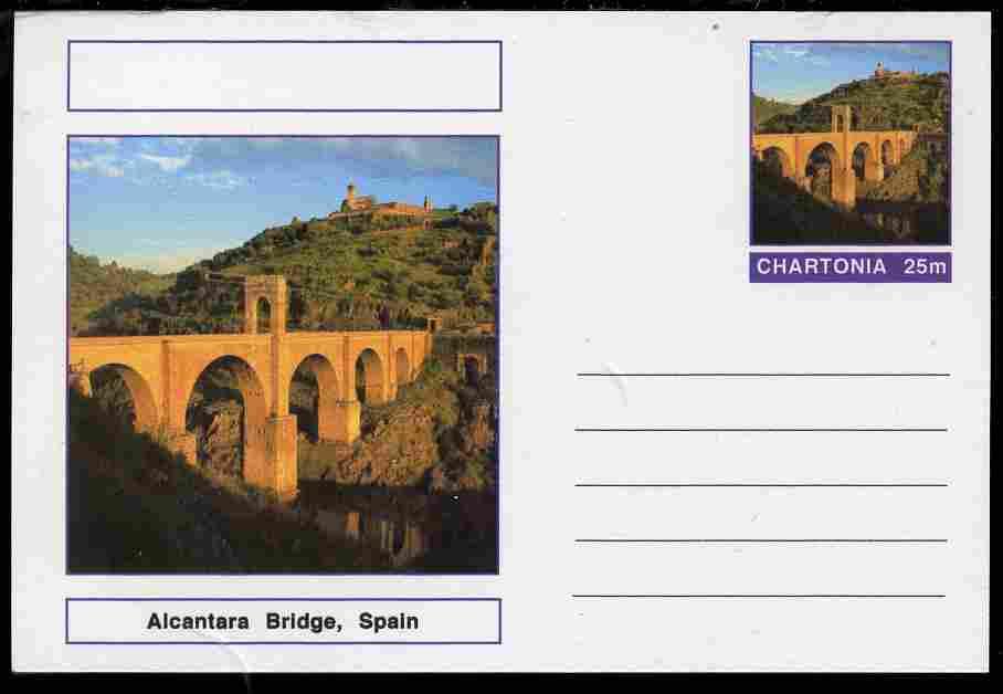 Chartonia (Fantasy) Bridges - Alcantara Bridge, Spain postal stationery card unused and fine