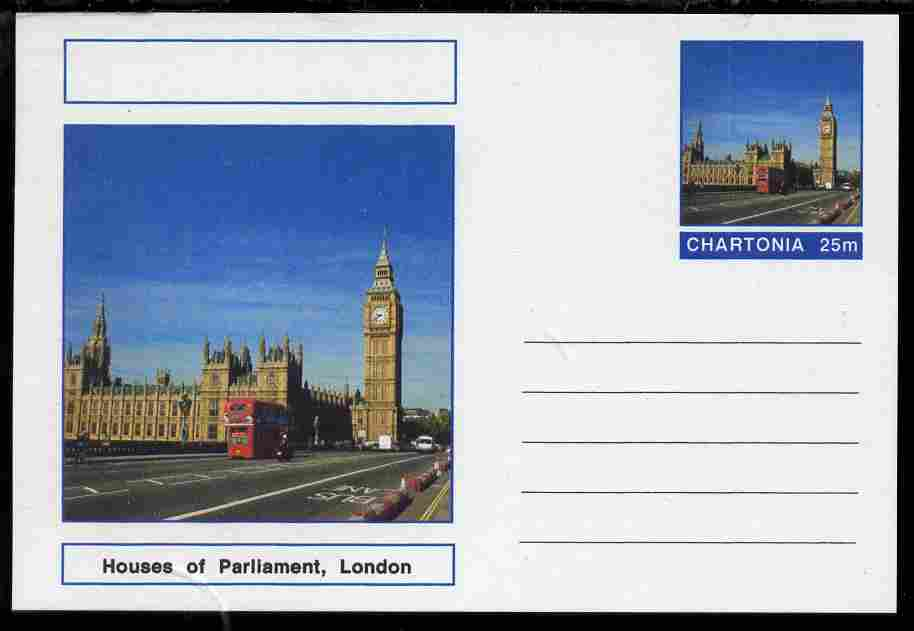 Chartonia (Fantasy) Landmarks - Houses of Parliament, London postal stationery card unused and fine