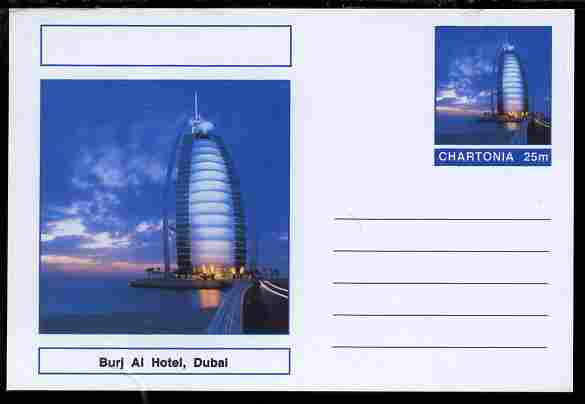 Chartonia (Fantasy) Landmarks - Burj Al Hotel, Dubai postal stationery card unused and fine
