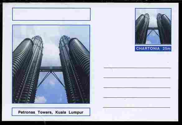 Chartonia (Fantasy) Landmarks - Petronas Towers, Kuala Lumpur postal stationery card unused and fine, stamps on tourism, stamps on civil engineering, stamps on towers