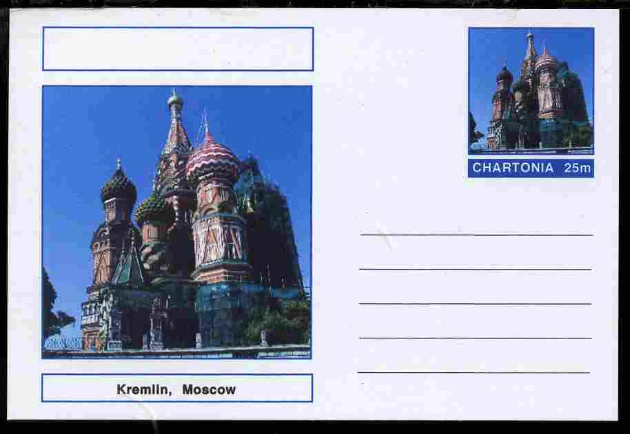 Chartonia (Fantasy) Landmarks - The Kremlin, Moscow postal stationery card unused and fine