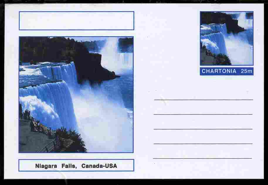 Chartonia (Fantasy) Landmarks - Niagara Falls, Canada-USA postal stationery card unused and fine