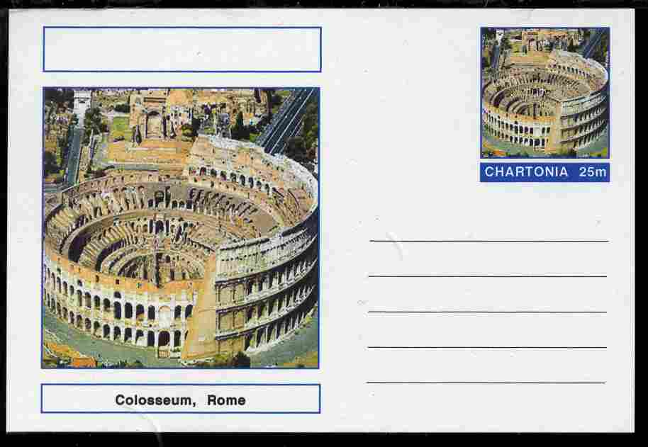 Chartonia (Fantasy) Landmarks - Colosseum, Rome postal stationery card unused and fine