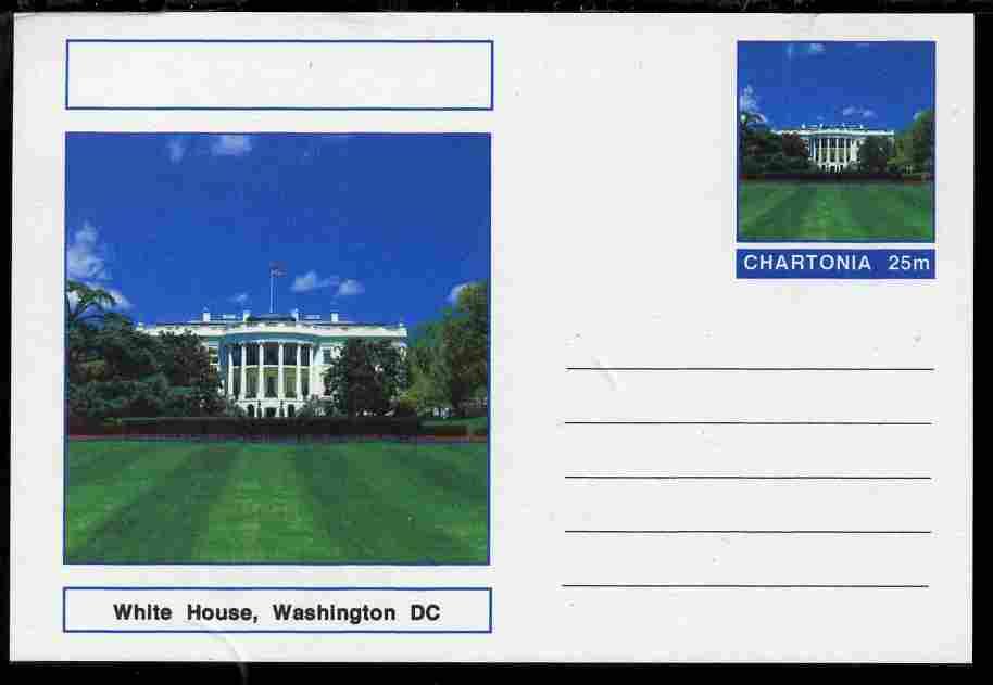 Chartonia (Fantasy) Landmarks - The White House, Washington DC postal stationery card unused and fine