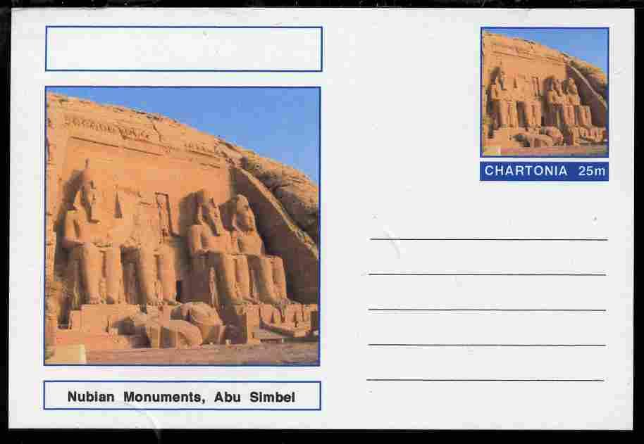 Chartonia (Fantasy) Landmarks - Nubian Monuments, Abu Simbel postal stationery card unused and fine