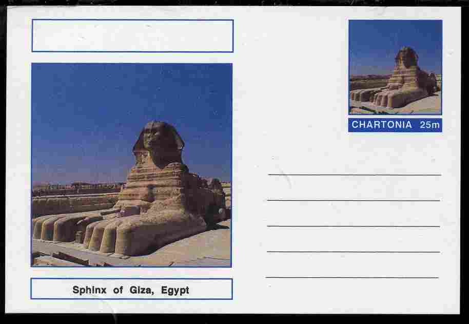 Chartonia (Fantasy) Landmarks - Sphinx at Giza, Egypt postal stationery card unused and fine