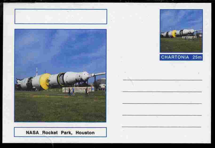 Chartonia (Fantasy) Landmarks - NASA Rocket Park, Houston postal stationery card unused and fine