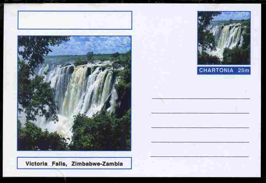 Chartonia (Fantasy) Landmarks - Victoria Falls, Zimbabwe-Zambia postal stationery card unused and fine
