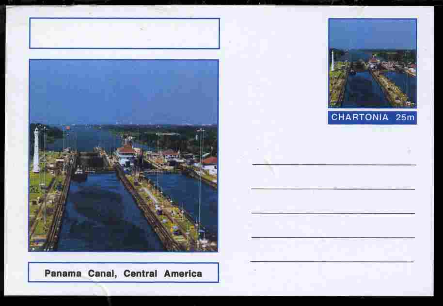 Chartonia (Fantasy) Landmarks - Panama Canal, Central America postal stationery card unused and fine