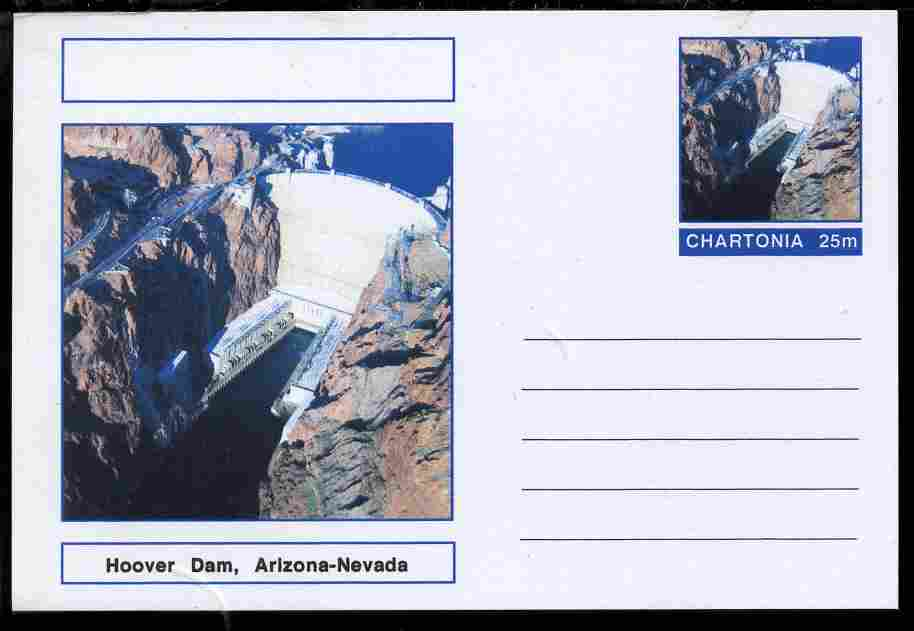 Chartonia (Fantasy) Landmarks - Hoover Dam, Arizona-Nevada postal stationery card unused and fine