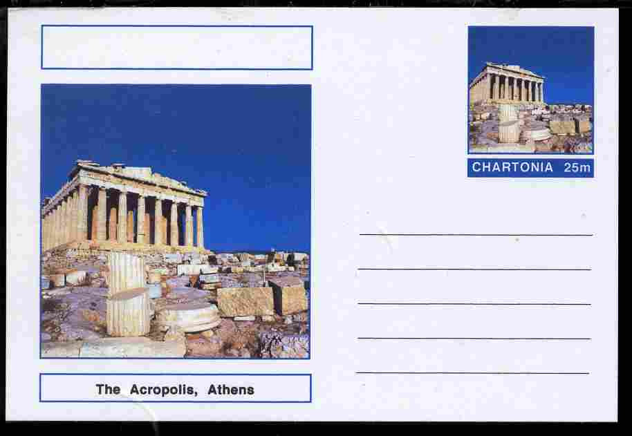 Chartonia (Fantasy) Landmarks - The Acropolis, Athens, postal stationery card unused and fine