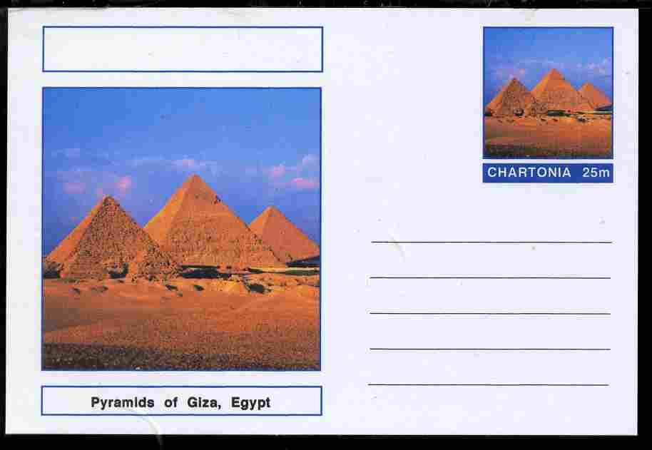 Chartonia (Fantasy) Landmarks - Pyramids at Giza, Egypt postal stationery card unused and fine