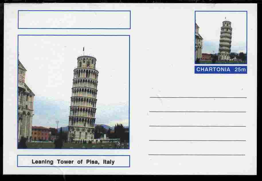 Chartonia (Fantasy) Landmarks - Leaning Tower of Pisa, Italy postal stationery card unused and fine