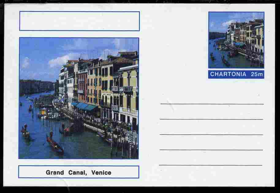 Chartonia (Fantasy) Landmarks - Grand Canal, Venice postal stationery card unused and fine