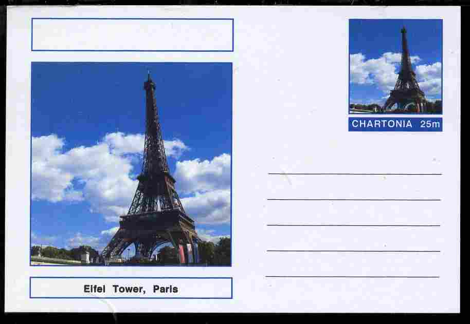 Chartonia (Fantasy) Landmarks - Eiffel Tower, Paris postal stationery card unused and fine