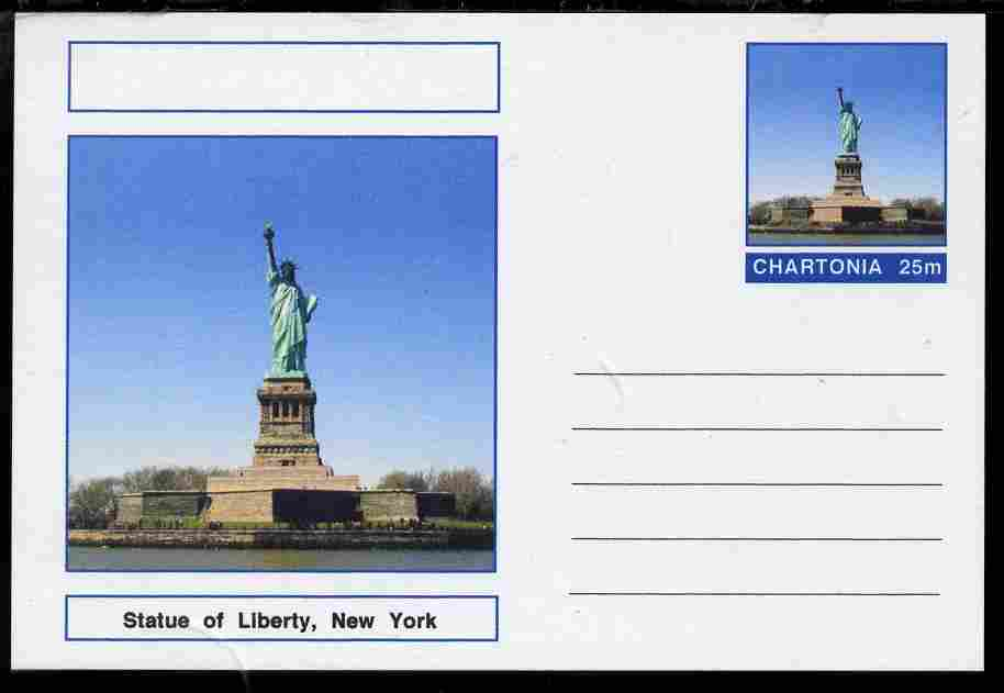 Chartonia (Fantasy) Landmarks - Statue of Liberty, New York postal stationery card unused and fine
