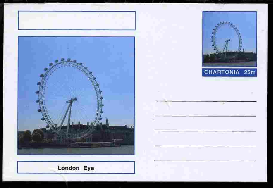 Chartonia (Fantasy) Landmarks - London Eye postal stationery card unused and fine
