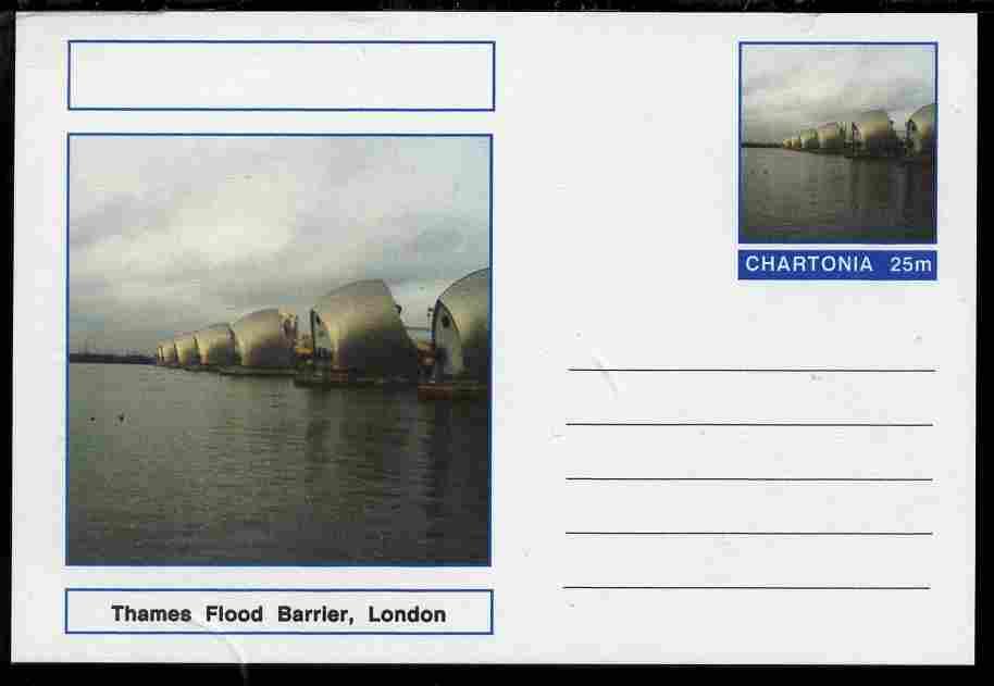 Chartonia (Fantasy) Landmarks - Thames Flood Barrier, London postal stationery card unused and fine